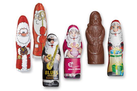 Weihnachtsmänner mit Werbeaufdruck