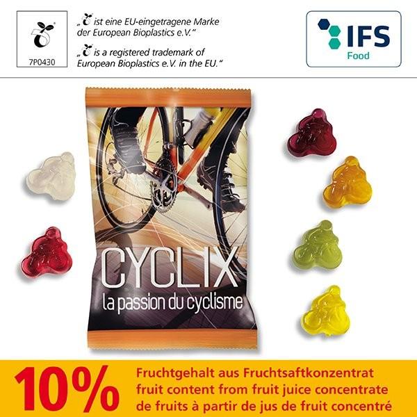 Fruchtgummi -Standardformen 15 g in kompostierbare