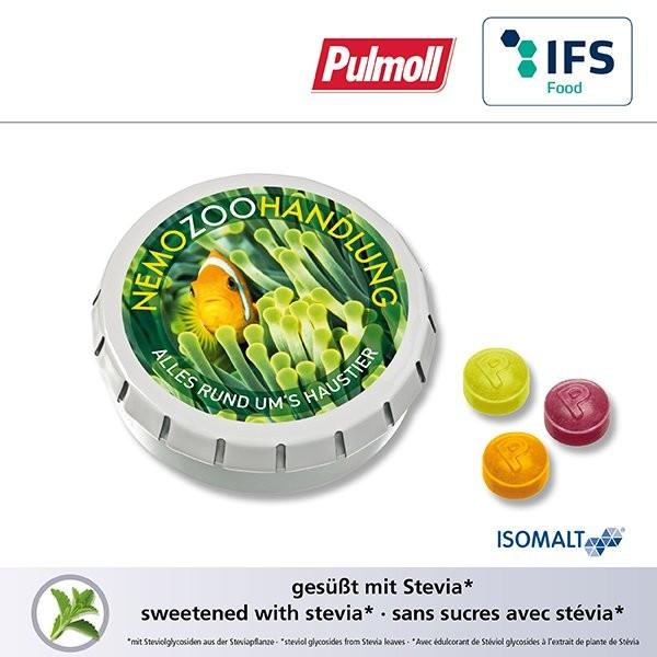 SUPER-MINI-Drück-mich-Dose mit Pulmoll Halsbonbons