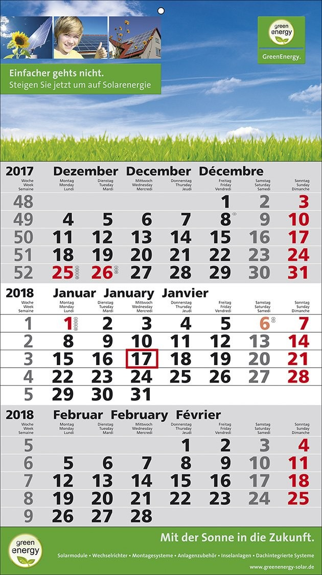 1-Block-Wandkalender 2Plus  '3-sprachig'