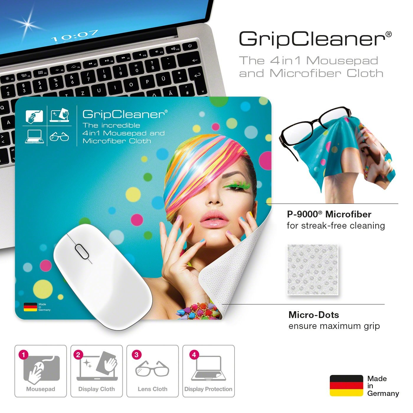 GripCleaner® 4in1 Mousepad 23x20cm, Ansicht 6