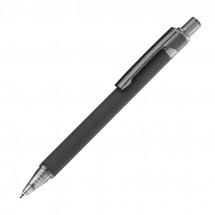 Gummierter Kugelschreiber mit schwarzem Clip - schwarz