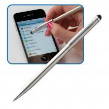 Kugelschreiber aus Edelstahl mit Touchpad - grau