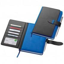 Notizbuch mit Visitenkartenmappe - blau