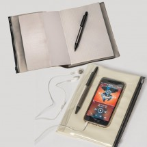 Notizbuch mit PVC Umschlag, inkl. Kugelschreiber - weiss