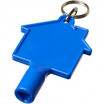Maximilian Zählerkastenschlüssel in Hausform mit Schlüsselanhänger - blau