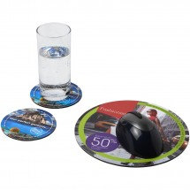 Q-Mat® Mousepad- und Untersetzer-Set Combo 5 - schwarz