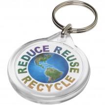 Orb runder Kunststoff-Schlüsselanhänger - transparent klar