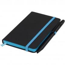 Schwarzes A6 Notizbuch mit farbigem Rand - schwarz/blau