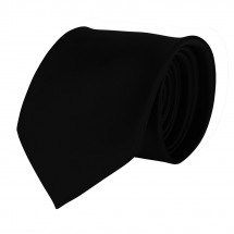Krawatte, 100% Polyester Satin, uni, glänzend - schwarz