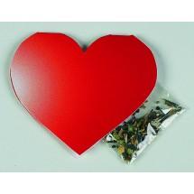 Klappkärtchen Herz, Blumenmischung - rot