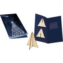 Karte Wintertanne, ohne Kuvert - blau