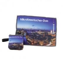 Mikrofasertuch-Duo mit integrierter Tasche