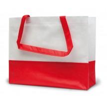 """PP-Einkaufstasche """"Roma"""" 2 Farben - weiss/rot"""