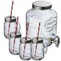 Set aus Getränkespender und 4 Glaskrügen - transparent