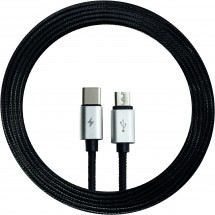 2-in-1 Micro / Type C cable Textil - schwarz