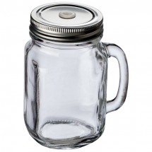 Glaskrug mit Metalldeckel 450ml - transparent