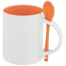 Tasse mit Löffel - orange