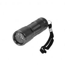 Aluminium-Taschenlampe, 9 LED (weiß) - schwarz