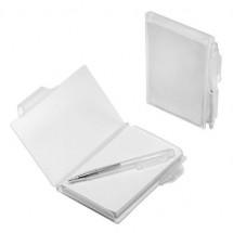 Notizbuch mit Kugelschreiber - glasklar