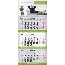 """Mehrblock-Wandkalender """"Classic 3""""-rot"""