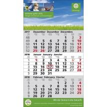 1-Block-Wandkalender 2Plus  '3-sprachig'-schwarz