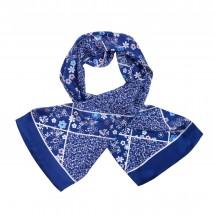 Seidenschal, Reine Seide, Satin, bedruckt, ca. 27x140cm - blau