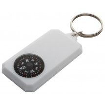 Schlüsselanhänger mit Kompass ''Magellan'' - weiss