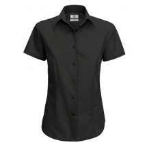 Poplin Shirt Smart Short Sleeve / Women - Black