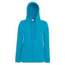 Lady-Fit Lightweight Hooded Sweat Jacket - Azure Blue