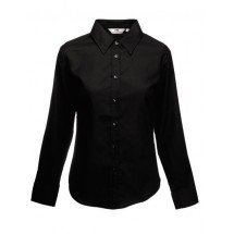 Lady-Fit Long Sleeve Oxford Blouse - Black