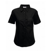 Lady-Fit Short Sleeve Poplin Blouse - Black