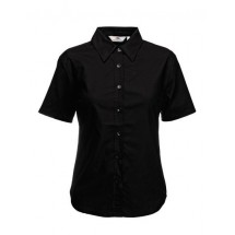 Lady-Fit Short Sleeve Oxford Blouse - Black