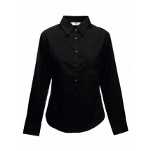 Lady-Fit Long Sleeve Poplin Blouse - Black