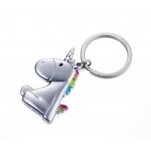 Schlüsselanhänger EINHORN - mehrfarbig, silber, bunt