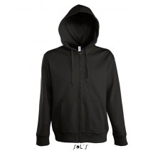 Men Hooded Zipped Jacket Seven - Black