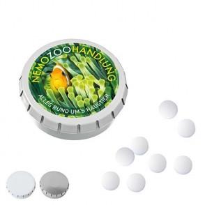 SUPER-MINI-Drück-mich-Dose mit Pfefferminzpastillen