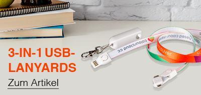 3-in-1 USB-Lanyard mit Logo