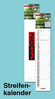 Streifenkalender mit Logo